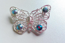 Brož 0073 motýl capri blue AB
