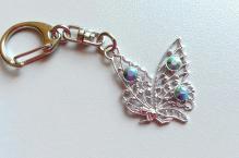 Klíčenka 004 motýl turquoise AB