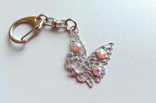 Klíčenka 004 motýl rose opal AB