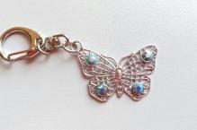 Klíčenka 003 motýl turquoise AB
